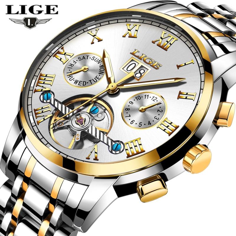 LIGE Watches men luxury brand automatic mechanical watches waterproof business watch man fashion clock relogio masculino uacbl<br>