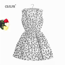 Summer Dress 2016  Women Fashion Sleeveless Dress Beach Vestidos O-Neck Dresses Mini Party Bohemian Print Floral Dress nz01-18