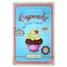 Cup cake eating well and  feeling good  Metal Poster Tin Sign Wall decor Bar Retro Painting wall sticker wall art decor home new