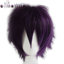 S-noilite Ladies and Gentlemen Short Wig Cosplay Costume Full Head Wigs Heat Resistant Party Red Purple Synthetic Hair(China)