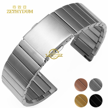 Stainless steel bracelet solid metal watchband 16 18 20 22mm watch strap wristwatches band silver rose gold color watch belt(China)