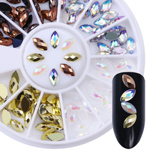 Marquise Rhinestone Nail Decoration 120pcs Diamond Cutting Flat Bottom Resin Manicure Nail Art Decorations in Wheel(China)