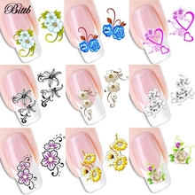 Bittb 1 Sheet Nail Art Stickers Flower Butterfly Long Vine Decals Decorations Manicure DIY Styling Wraps Tools Nail Accessories