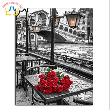 HOME BEAUTY coloring by numbers painting calligraphy red flowers wall pictures for living room paint by number Y092