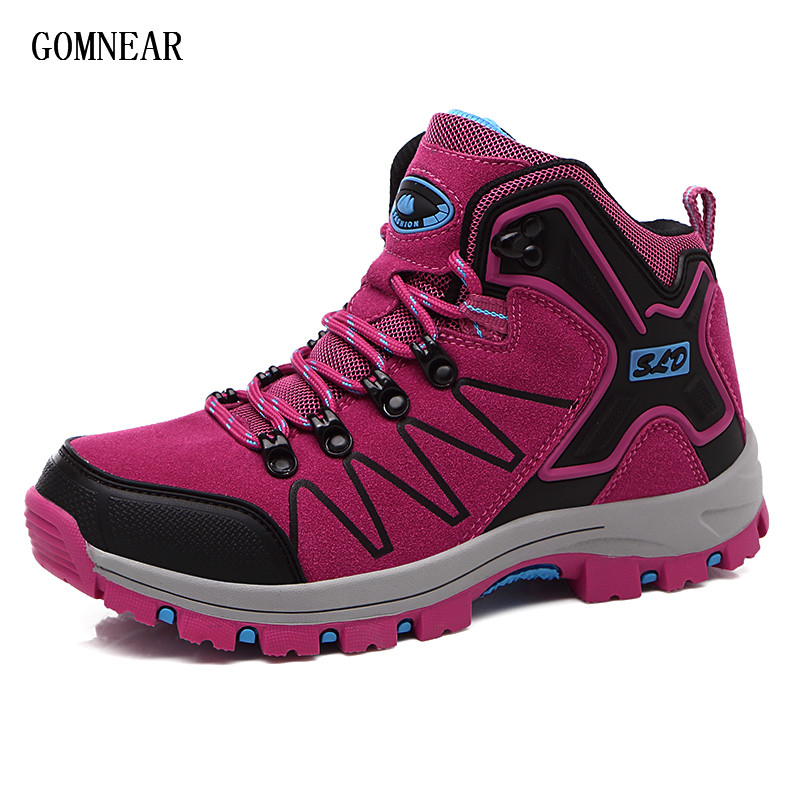 GOMNEAR New Autumn And Winter Womens Hiking Boots Breathable  Antiskid Outdoor Tourism Sport Shoes Camping Trekking Shoes Women<br>