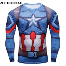 Buy 2016 Men T-Shirt 3D T shirt Captain America Anime Print Long Sleeve Male Tops Fashion Funny Character Camiseta ZOOTOP BEAR for $9.28 in AliExpress store