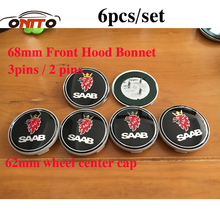 Car styling 6pcs 68mm hood Emblem boot label wheel cap 62mm Car Wheel Center Covers for 9-3 9-5 93 95 BJ SCS(China)