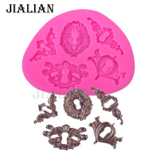 Retro key Keyhole flower Lace Hand-carvedchocolate cake decorating tools DIY baking mould fondant silicone mold T0369(China)