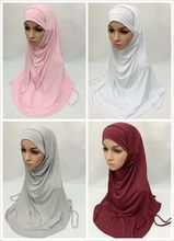 Fashion 2 Piece Modal Cotton Solid color Muslim Head Coverings Amira Hijab Islamic Scarf Islamic Shawls Headwear(China)