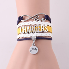 Little Minglou Infinity Love Chargers bracelet sport football team Charm leather wrap men bracelet & bangles for women jewelry