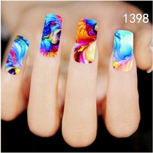 BITTB 4PCS Nail Art Stickers Colorful Painting Fingernail Beauty Designs Nail Tip Manicure Nail Foil Makeup Tools Adhesive Decal