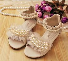 Whoesale 6Pairs/Lot  Alovbear pearl lace Kids sandals sweet gentlewomen princess shoes 2CM High Heels children leather sandals