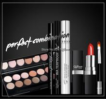 Q601 6pcs/Set Makeup 12 Colors Eyeshadow + Eyebrow Pencil + Black Liquid Eyeliner Pencil + Upscale Silver Mascara + Lipstick