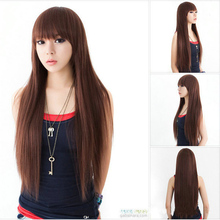 Light Brown Girls Lovely Paragraph Wig Black Long Straight Wig Hair Synthetic Peluca Peruca Cosplay Hair Pad
