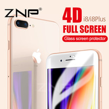 ZNP 4D (2nd Gen 3D) Full Cover Tempered Glass For iPhone 8 8 Plus 7 9H Screen Protector Film For iphone 7 7 plus Tempered Glass(China)