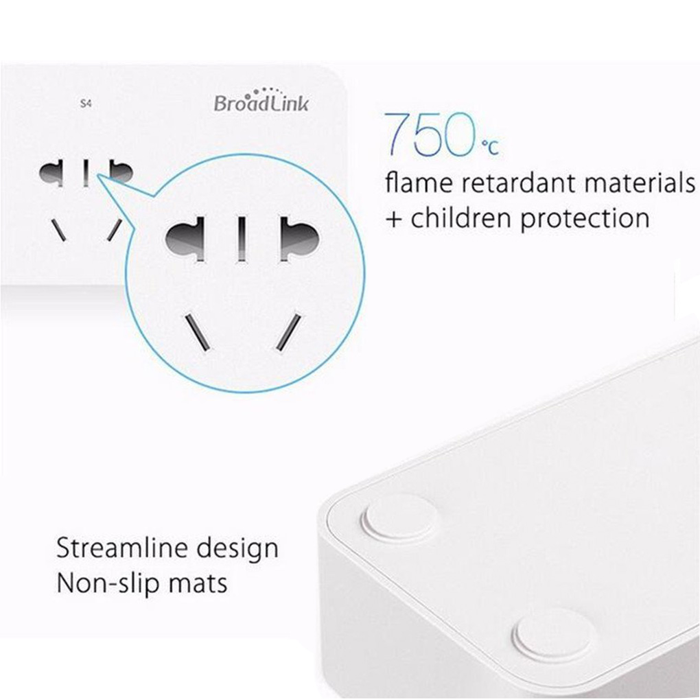 Broadlink MP1 Socket Plug Remote Control Separately Controllable WiFi 4-outlet Power Strip for Smart Home Automation