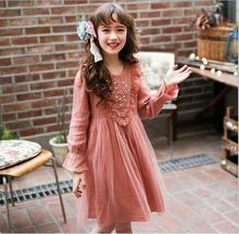 3-11y Girl Party Dress Pearl Flowers Childrens Dresses Cotton Tulle Elegant Cute Kids Belle Dress Wholesale Princess Clothing