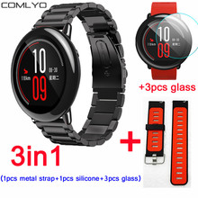 3in1 Stainless Steel Bracelet Watch Band For Xiaomi Huami Amazfit strap screen protector Silicone Wrist Band +3pcs 2.5D Glass(China)