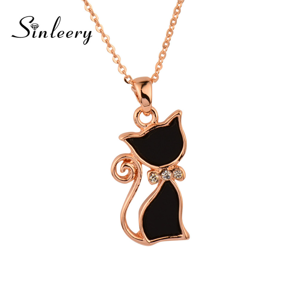 SINLEERY Fashion Girl Lady Animal Black Cat Necklace 2016 New Model Rose Gold Color Chain Jewelry Best Gifts Xl263(China (Mainland))