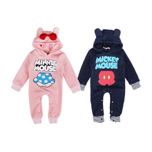cute one-piece baby romper cartoon mickey minnie cotton onesie jumpsuit for 1-2years baby newborn infantil romper clothes hot(China)