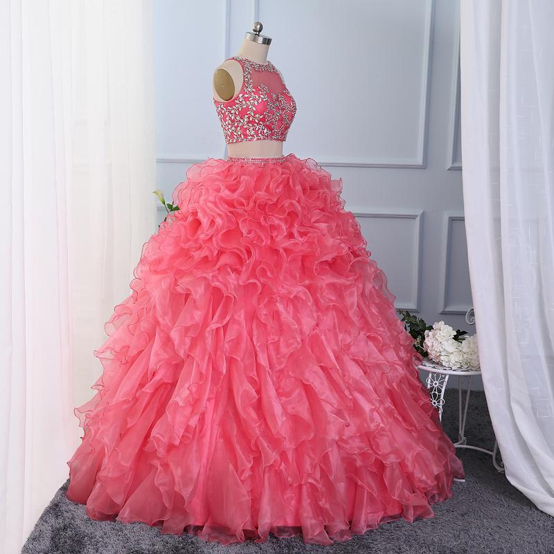 2 piece quinceanera dresses 2016 ruffled