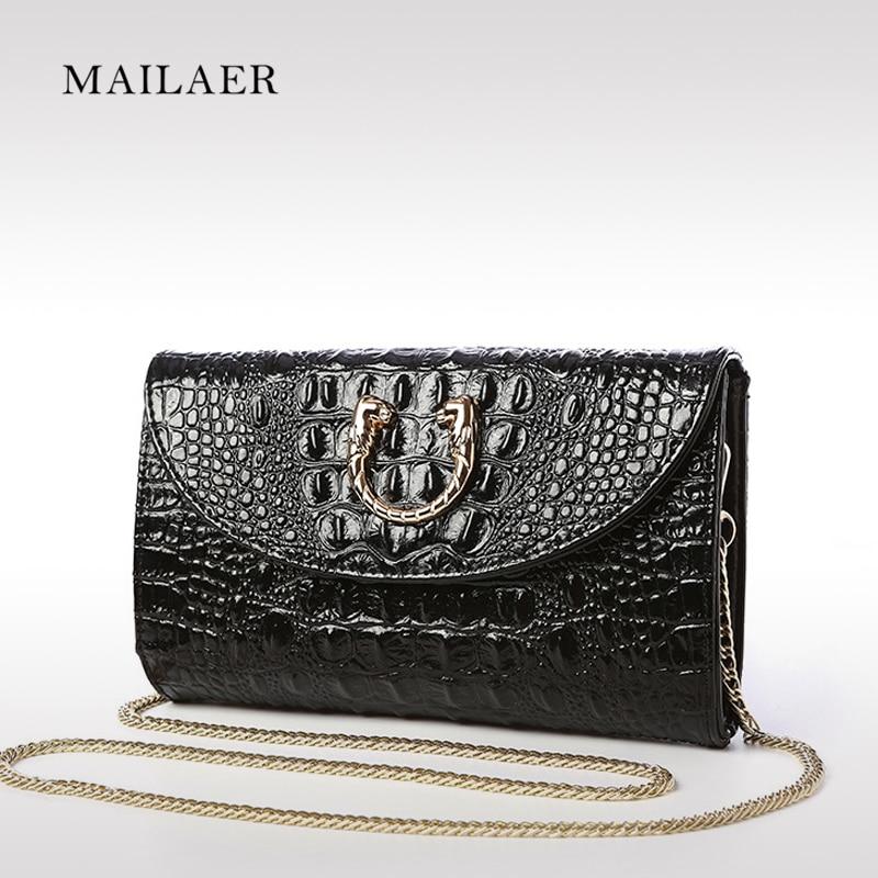 2017 new brand leather handbags Crocodile Grain shoulder diagonal chain clutch bag evening bag lady<br><br>Aliexpress