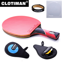 Best quality carbon bat table tennis racket with rubber pingpong paddle short handle tennis table rackt long handle offensive(China)