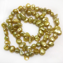 16 inches 8-9mm Champagne Side Drilled Natural Keshi Pearl Loose Strand for Necklace(China)