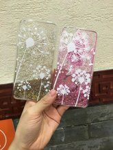 Hard Quicksand Case for Iphone 5 5s Se 6 6s Plus PC Cover Slides Shifting Sands Liquid Bling Sequins Sands Hourglass Dandelion