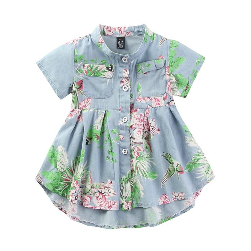 Kids Clothes 2017 New Arrival Girl Dress Children Clothes Fashion Floral Denim Clothes Jean Girls Dress<br><br>Aliexpress
