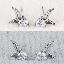 New Fashion 1Pair Ladies Silver Plated Stud Earrings Korean Fashion Angel Wings Crystal Ear Stud Earrings Womens Jewelry