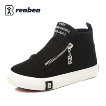 RenBen Kids Canvas shoes girls sneakers 2017 new spring summer children shoes boys shoes high leisure fashion kids sneakers(China)