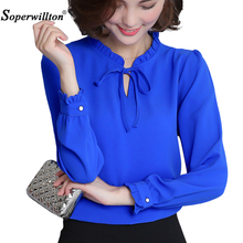 Buy 2017 New Spring Autumn Shirts Women Blusa Chiffon Blouse Long Sleeve Ruffle Collar Fashion Tops Women's Clothing Plus Size XXXL for $7.79 in AliExpress store