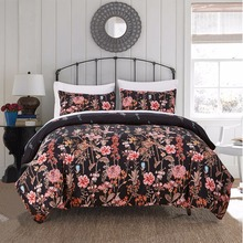2-3 Pieces Blooming Flower Polyester Cozy Bedding Set Duvet Cover set Bed cover Pillowcase Single Double Twin Queen King Black
