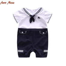 Fashion 2017 Navy Sailor Baby Romper  Short Sleeve Jumpsuit 100% Cotton Infant Boys one piece clothes Newborn Baby Jumper