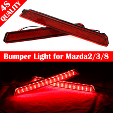For Mazda2/3/8 Rear Bumper Reflector Light Parking warning Lights Brake Lights Car Styling Stop Brake DC 12V 2X 5W LED bulb Lamp
