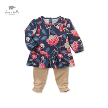 DB3610 dave bella autumn baby girls navy flower clothing sets kids floral clothing sets toddle cloth kids printed sets(China)