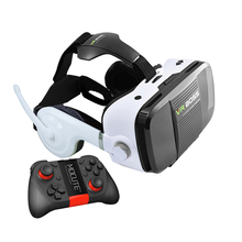 "2016 VR BOSS 3D Glasses Virtual Reality VR With Headset+Microphone Cardboard FOV120 for 4""~6.3"" Smartphone+ Blueooth Gamepad"