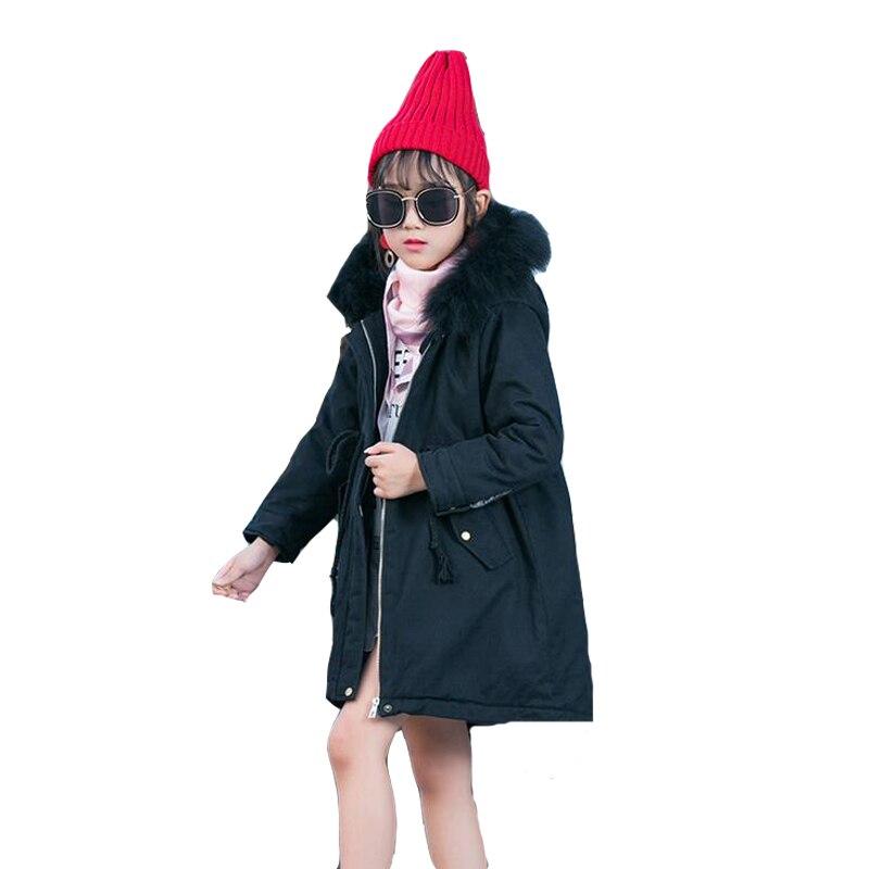 2017 Winter Jackets For Girls Cotton Thicken Parkas Long Fur Hooded Coats For Girls Warm Outerwear 4 5 7 9 11 12 Years Kids TopsÎäåæäà è àêñåññóàðû<br><br>