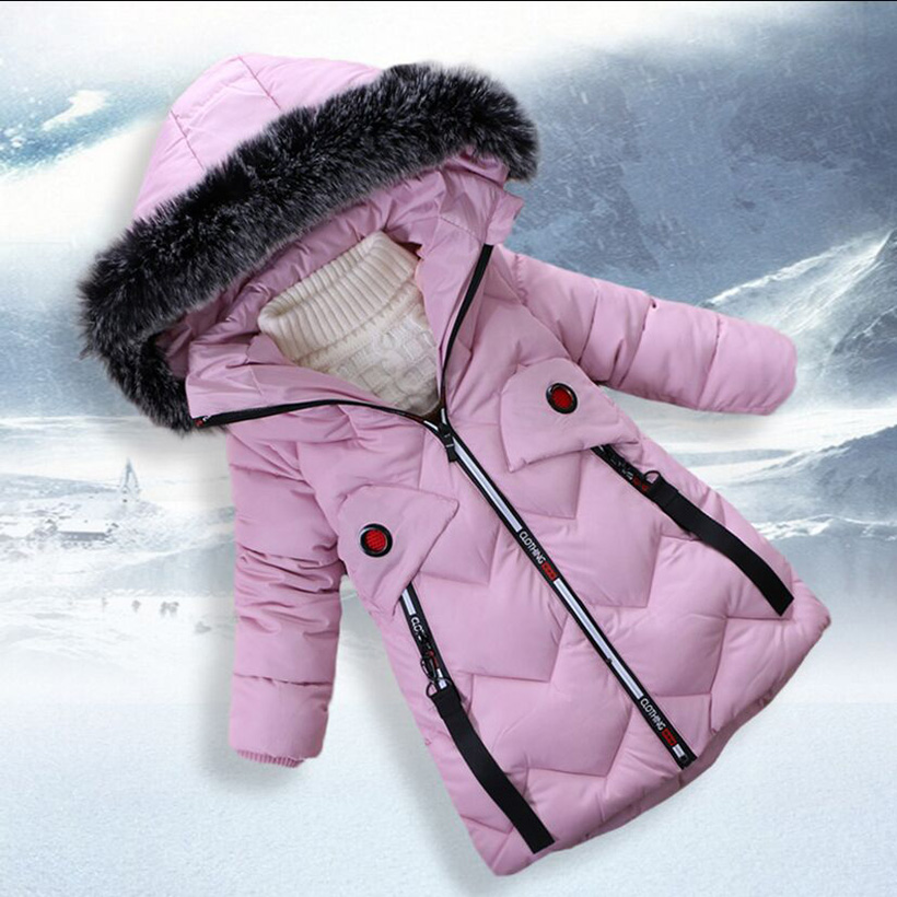 Girls Winter Coat 2017 New Childrens Clothing Thick Coat Cotton Padded Jacket Long Warm Outerwear &amp; Coats Fit 4-7year <br>