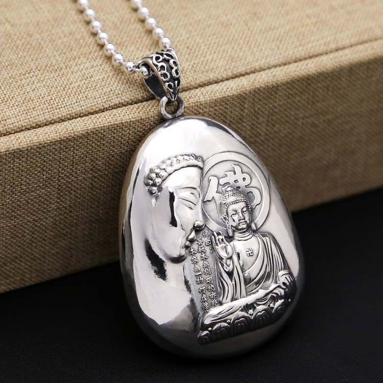 99 Sterling Silver Jewelry Heart Pendant Amitabha Carving Sweater Chain Men And Women Retro Thai Silver Pendant