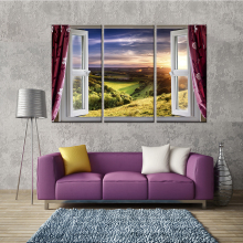 Window View Wall Stickers for Living Room Landscape Canvas Painting Home Decoration Accessories No Framed 3 Panel Dropshipping