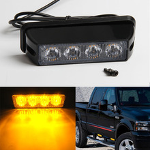 High Power 4 LED Car Emergency Beacon Warning Light Bar 12V/24V led Strobe Flash light Universal fit Hazard SUV Offroad Truck(China)