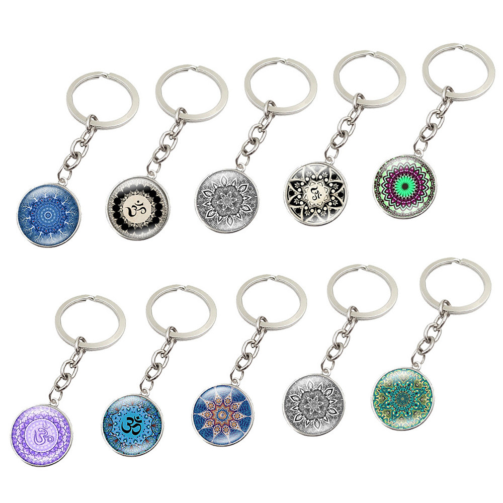 EDC Outdoor Steel Rope Burglar Keychain Tactical Retractable Key Chain Camping Key Ring Mandala flower keychain gadget hot A3078