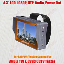 "4.3"" LCD 1080P AHD TVI CVBS Analog Camera CCTV Tester Monitor PTZ Audio Video DC 5V 12V Out RJ45 UTP Cable Test Rechargeable(China)"