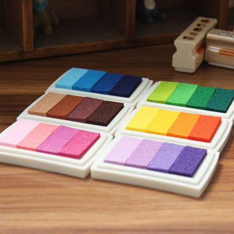 1Pcs Homemade DIY Gradient Color ink Pad Multi-colour Inkpad Stamp Decor Fingerprint Scrapbooking Tools 6 Colors