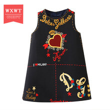 WXWT Baby Girls Dress Moana Clothes 2017 Brand Princess Dresses for Girls Letter Embroidered Kids Dress Children Clothing