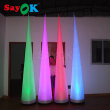 9.84-feet High Inflatable LED Cone High Lighted Inflatable Decoration Glowing in the Dark for Wedding Party Stage