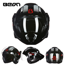 The New BEON flip up motorcycle helmet can be converted into retro helmet chrome blue double lens modular full face helmets 702(China)