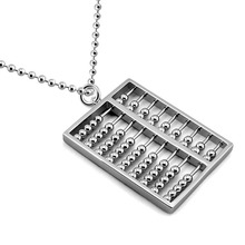 Fashion 925 sterling silver women long necklace.Solid silver big personality abacus pendant necklace.Charming lady jewelry